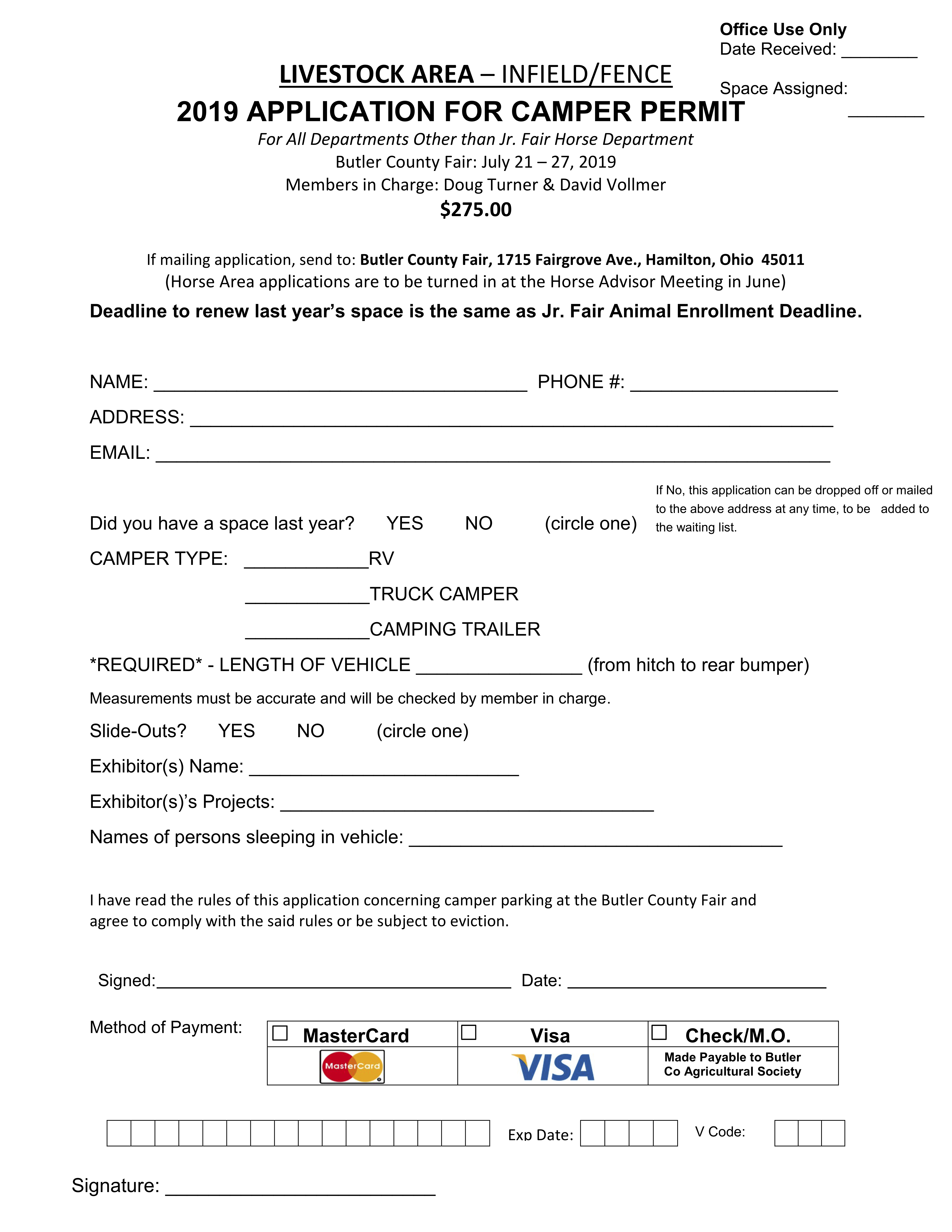 LIVESTOCK AREA CAMPING FORM page 2